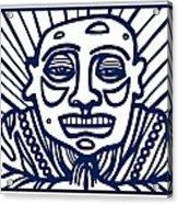 Frisby Buddha Blue White Acrylic Print