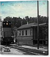 760 Train Engine Passing The Station Sc Textured Acrylic Print