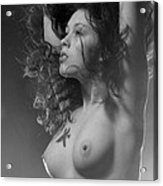 7634 Bw Nude With Fire Sign Kanjii Acrylic Print