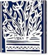 Stearne Plant Leaves Blue White Acrylic Print