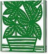 Lagoa Plant Leaves Green White Acrylic Print