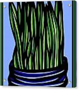 Chrisler Plant Leaves Blue Green Red Acrylic Print