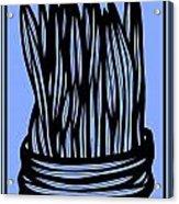 Chidester Plant Leaves Blue Black Acrylic Print