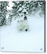 A Man Skiing In Powder Near South Lake Acrylic Print
