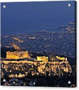 Acropolis Of Athens During Dusk Time Acrylic Print