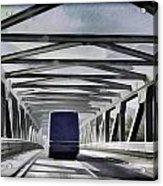 Blue Citylink Bus On A Metal Bridge In Scotland Acrylic Print