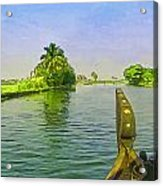 Captain Of The Houseboat Surveying Canal Acrylic Print