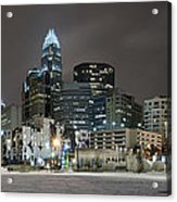 Charlotte Queen City Skyline Near Romare Bearden Park In Winter Snow Acrylic Print by Alex Grichenko