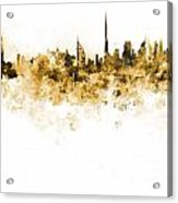 Dubai Skyline In Watercolour On White Background Acrylic Print