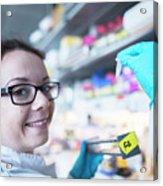 Female Scientist In Laboratory Acrylic Print