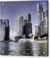 Financial District Of Singapore And View Of The Water In Singapore Acrylic Print