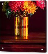 Multicolored Chrysanthemums In Paint Can Acrylic Print