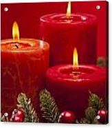 Red Advent Wreath With Candles Acrylic Print