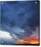 Stormclouds And Sunset Above Mountains At Toktogul In Kyrgyzstan Acrylic Print