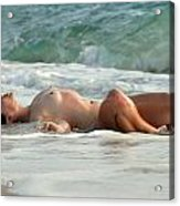 8369 Nude Island Girl Lying In Surf  Acrylic Print