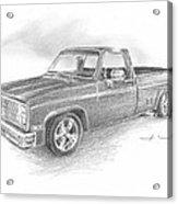 86 Chevy Truck Pencil Portrait  Acrylic Print