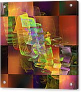 Abstract Checkered Pattern Fractal Flame Acrylic Print