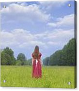 Girl On Meadow Acrylic Print