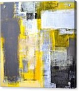 Busy Busy - Grey And Yellow Abstract Art Painting Acrylic Print