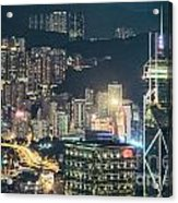 Hong Kong At Night Acrylic Print