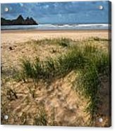 Stunning Sunrise Landscape Over Three Cliffs Bay In Wales Acrylic Print