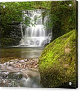 Stunning Waterfall Flowing Over Rocks Through Lush Green Forest  Acrylic Print