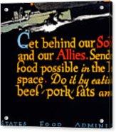 Wwi Food Supply, 1917 Acrylic Print