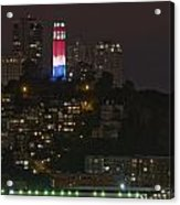 911 Commemorative Lighting On Coit Tower Acrylic Print
