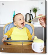 A 1 Year Old Baby Boy Eating In His High Chair Acrylic Print