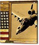 A-10 Warthog Rustic Flag Acrylic Print