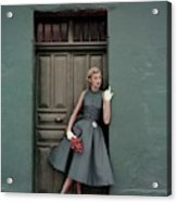 A 1950s Model Standing In A Doorway Acrylic Print