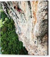A Athletic Man Rock Climbing High Acrylic Print
