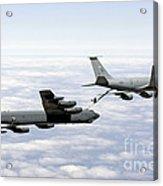 A B-52h Stratofortress Refuels Acrylic Print by Erik Roelofs