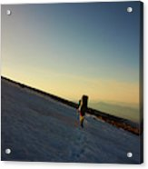 A Backpacker Crosses A Snowfield On Mt Acrylic Print