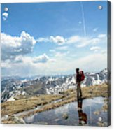 A Backpacker Stands Atop A Mountain Acrylic Print