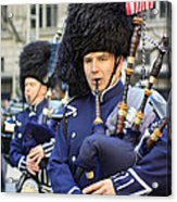 A Bagpiper Marching In The 2009 New York St. Patrick Day Parade Acrylic Print