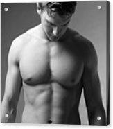 A Bare Torso Of A Muscular Caucasian Male Acrylic Print