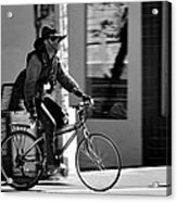 A Barefoot Cyclist With Beard And Hat In San Francisco Acrylic Print by RicardMN Photography