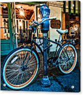 A Bike In Front Of Cafe Du Monde In New Orleans Acrylic Print