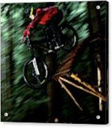 A Biker Rides His Mountain Bike Acrylic Print