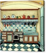 A Blue Kitchen With A Tiled Floor Acrylic Print