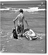 A Boy And His Dog Go Surfing Acrylic Print