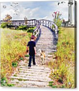 A Boy And His Dog Acrylic Print