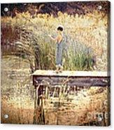 A Boy Fishing Acrylic Print