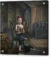 A Boy In The Attic With Old Relics Acrylic Print