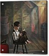 A Boy Posed Reading Old Books Victoria Acrylic Print