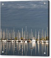 A Break In The Clouds - White Yachts Gray Sky Acrylic Print