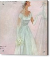 A Bride Wearing A Mindelle Dress Acrylic Print