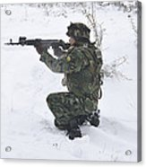 A Bulgarian Soldier Aims Down The Sight Acrylic Print