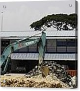 A Bulldozer Moving Dug Out Concrete And Fresh Earth Below The Concrete Acrylic Print